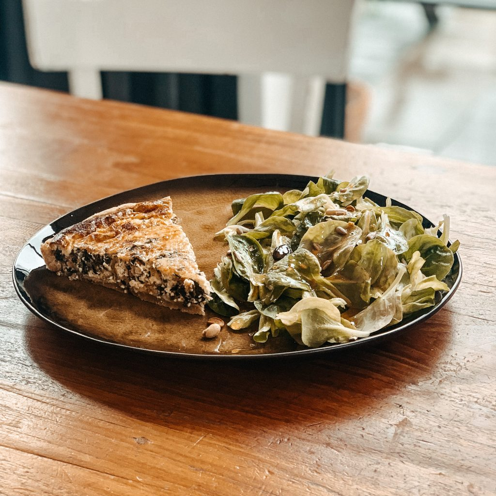 Soulfood Rezepte: Quiche mit Ziegenfrischkäse und Spinat (vegetarisch)